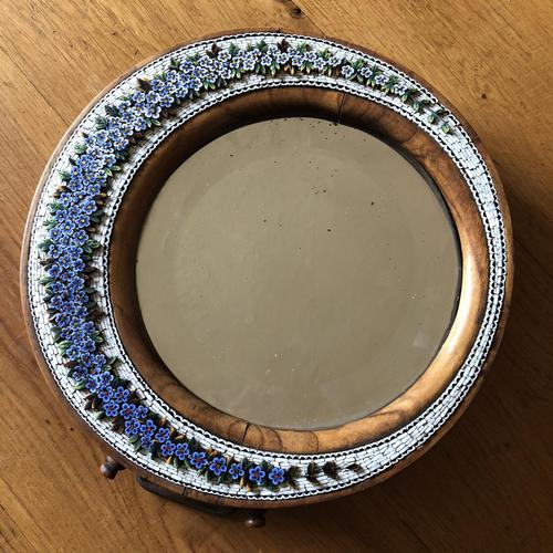 19th Century Italian Olive Wood Easel Mirror - Millefiori Micro Inlaid Detail (1 of 10)