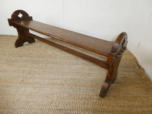 19thc Gothic Revival Oak Hall Bench (1 of 7)
