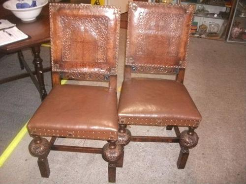 Pair of Ornately Carved Oak Chairs (1 of 3)