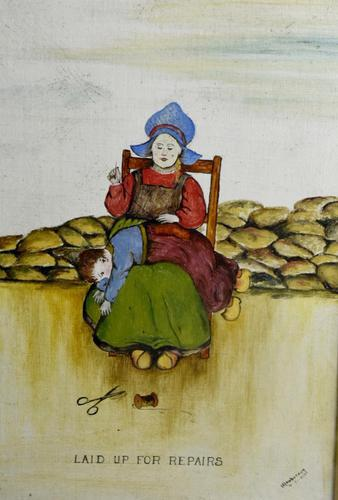 19th Century Dutch Comical Oil on Canvas by H Rowbotham (1 of 15)