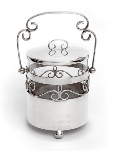 Edwardian Silver Plated Barrel or Box with a Plain Body and Glass Liner (1 of 5)