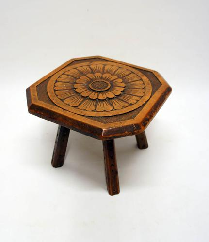 Small 19th Century Carved & Decorated Fruitwood Milking Stool (1 of 9)