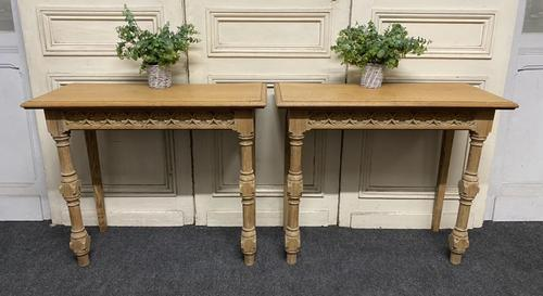 Pair of Bleached Oak Console Tables (1 of 16)