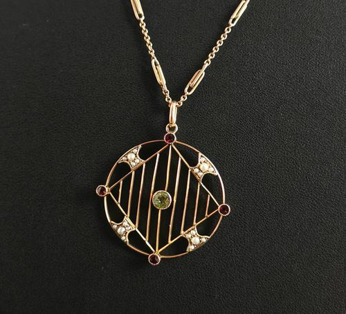 Antique Edwardian 9ct Gold Pendant, Peridot, Garnet and Pearl (1 of 10)