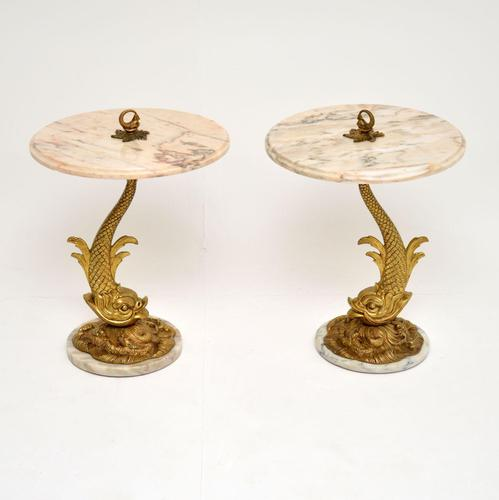 Pair of Antique Marble & Brass Side Tables (1 of 12)