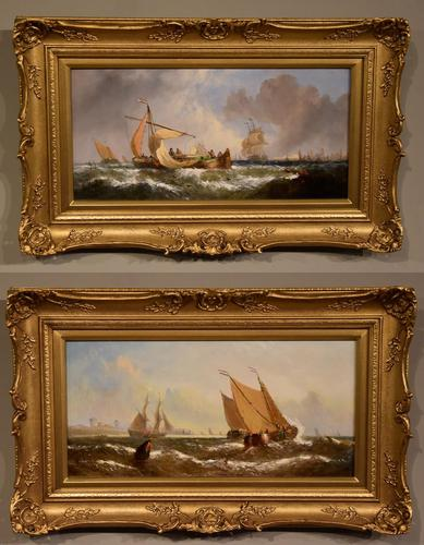"""Oil Painting Pair by William Calcott Knell """"Fishing Boats of the Dutch Coast"""" (1 of 9)"""