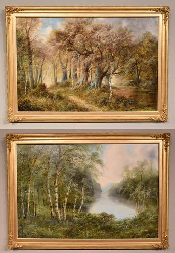 """Oil Painting Pair by F. Walters """"Spring on the Severn, Ringwood"""" """"Autumn, Ringwood"""" (1 of 10)"""