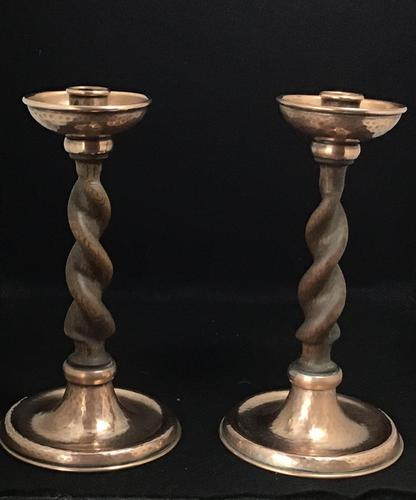 Pair of Arts and Crafts Oak Barley Twist and Planished Copper Candlesticks. (1 of 6)
