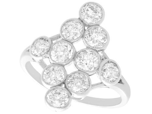 2.92ct Diamond & Platinum Marquise Ring - Antique French c.1920 (1 of 9)