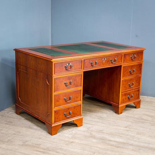 Yew Wood Effect Pedestal Desk (1 of 9)