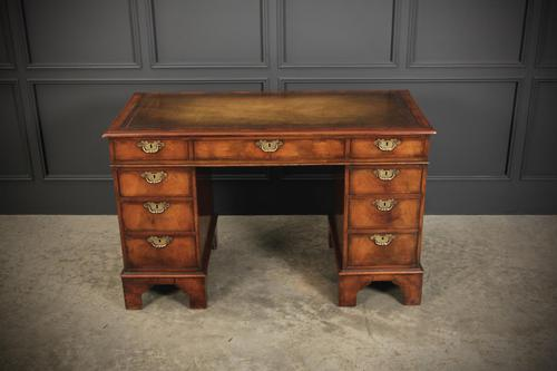 Queen Anne Style Walnut Pedestal Desk (1 of 17)