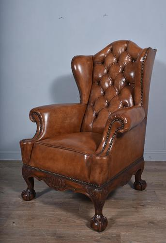 Large Antique Deep Buttoned Leather Wing Chair (1 of 5)