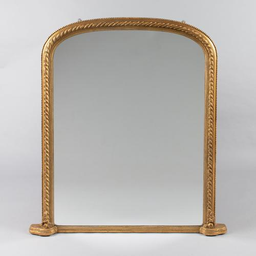 Large Victorian English Gilt Overmantle Mirror (1 of 10)