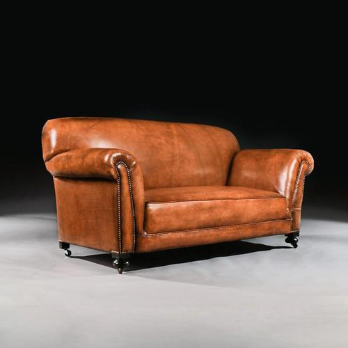 Late Victorian Leather Upholstered Drop-Arm Sofa (1 of 9)