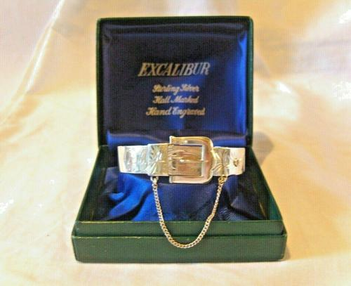 "Vintage Sterling Silver Buckle Bangle 1976 Original Box 7"" Length 24.4 Grams (1 of 12)"