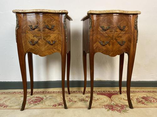 French Marquetry Bedside Tables Cabinets With Marble Tops Louis XVI Bombe Style (1 of 10)