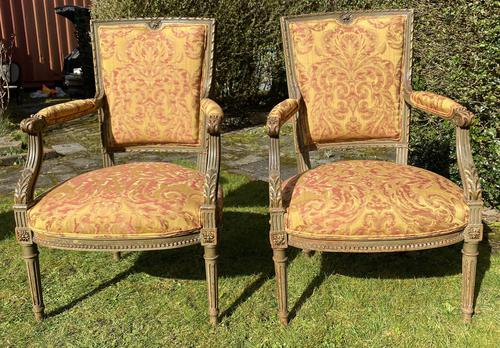 Pair of French Armchairs in Original Paint Finish (1 of 10)