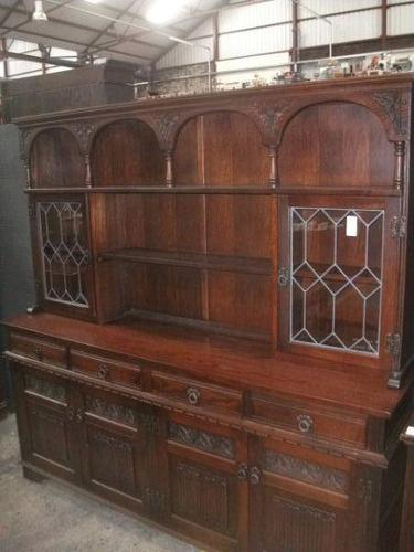 Old Charm Linenfold Lead Glazed Dresser (1 of 3)