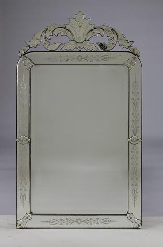 Large Italian Venetian Glass Overmantle Mirror (1 of 8)