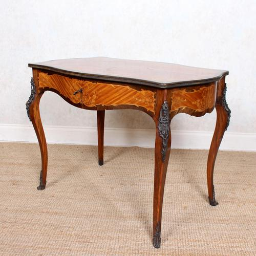 Serpentine Writing Table Louis XVI Style Inlaid Kingwood (1 of 19)