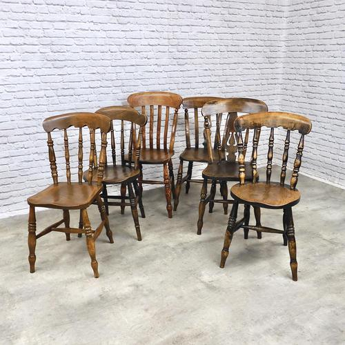 Interesting Assortment of 6 Windsor Kitchen Chairs (1 of 8)