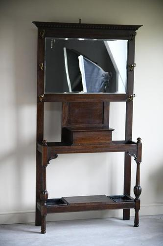 Early 20th Century Oak Hall Stand (1 of 8)