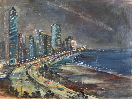 Original Oil on Canvas Paper 'City by the Sea' by Barbara Brassey - Signed c.1965 (1 of 2)