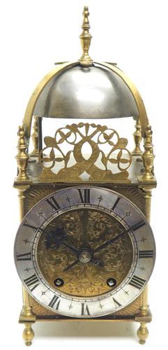 Superb Vintage English Lantern Clock - Pendulum 8-day Striking Mantel Clock c.1890 (1 of 12)