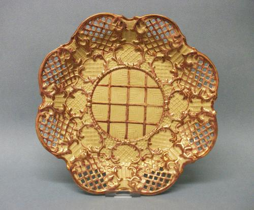 Very Rare Marked Thomas Lakin 'drab Porcelain' Pierced and Moulded Plate, c.1790-1800 (1 of 4)