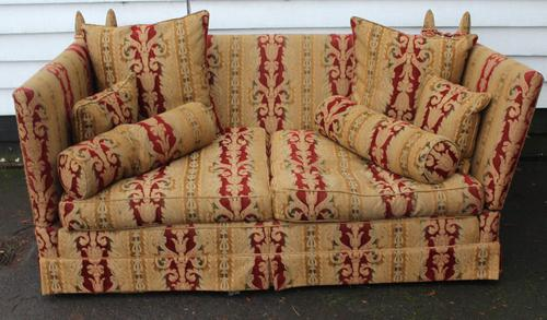 1900s Parker Knowle Drop End Sofa in Gold and Red. (1 of 3)