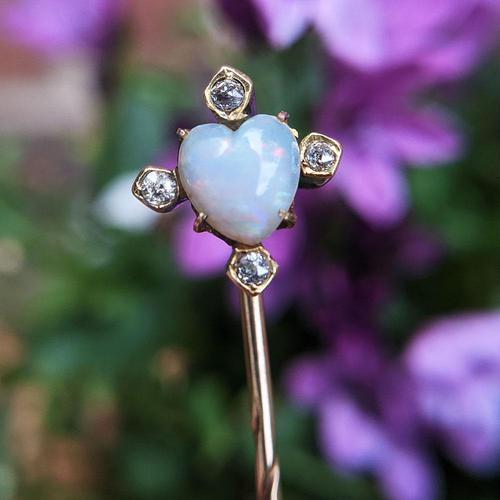 Antique Victorian Gold Opal Heart & Diamond Cased Stick Pin (1 of 9)