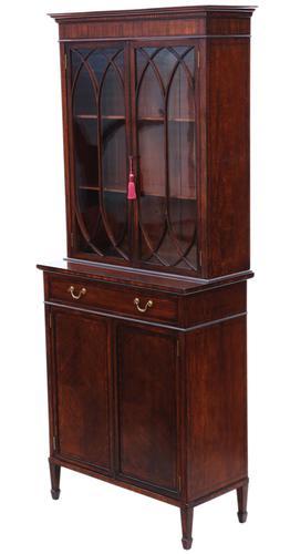 Georgian revival mahogany glazed bookcase on cupboard C1890 (1 of 12)