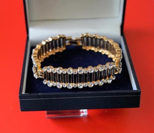 Vintage Designer 50s  Enamel Rhinestone Bracelet – Boxed Jewellery /  Present (1 of 9)