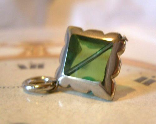 Vintage Pocket Watch Chain Fob 1950s Victorian Revival Chrome & Green Glass Fob (1 of 4)