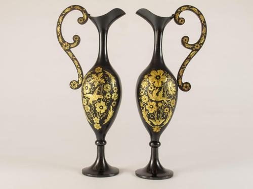 Pair of Black Metal Ewers With Gold Inlay (1 of 5)