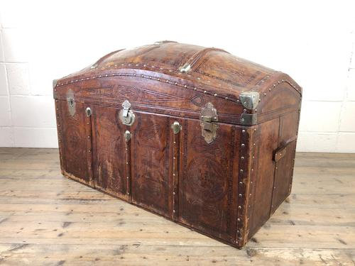 Large Leather Bound Dome Top Trunk (1 of 15)