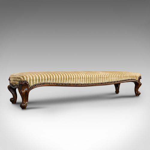 Long Antique Foot Stool, English, Coaching, Fireside, Early Victorian c.1840 (1 of 10)