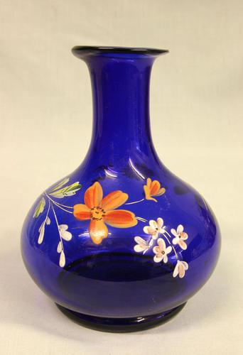 Antique Bristol Blue Decorated Glass Vase (1 of 5)