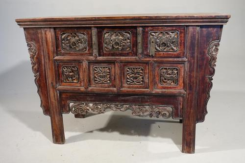 19th Century Chinese Alter Table with Elaborately Carved Facade (1 of 7)