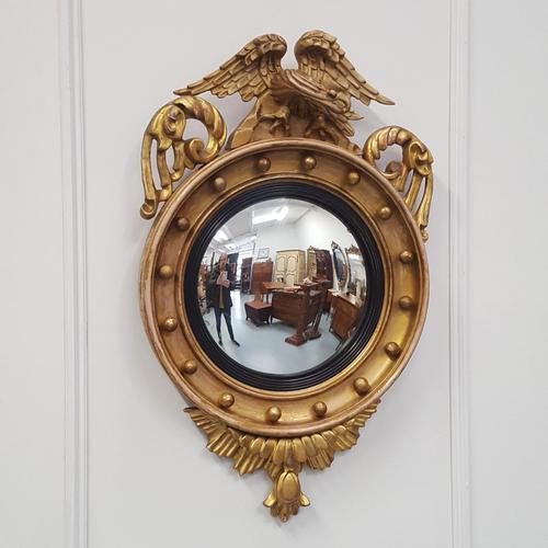 Antique Regency carved Convex Mirror c 1820 (1 of 6)