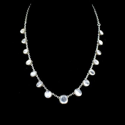 "Antique Moonstone Sterling Silver 16"" Riviere Fringe Necklace (1 of 7)"