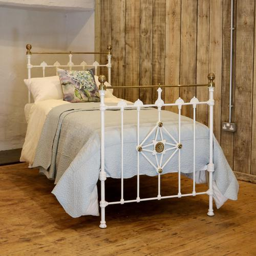 Antique White Decorative Brass & Iron Victorian Single Bedstead (1 of 7)