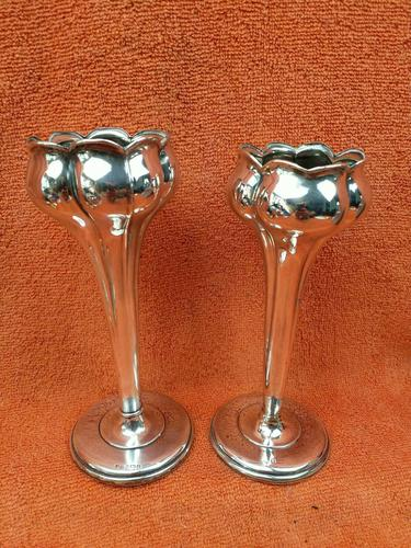 Pair of Antique Sterling Silver Hallmarked Tulip Vases 5 Inch 1904 Joseph Gloster (1 of 11)