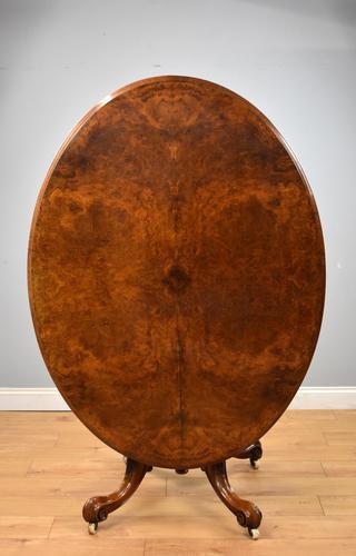Victorian Burr Walnut Oval Tilt Top Breakfast Table (1 of 7)