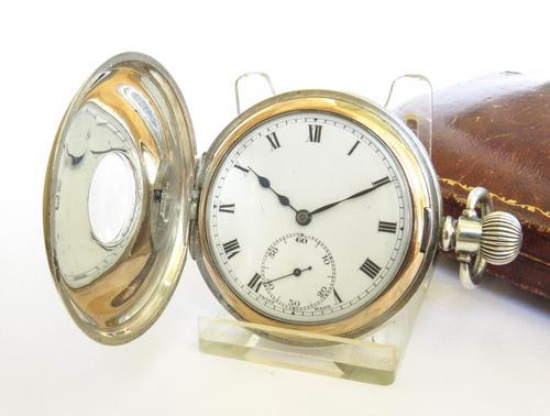 Antique Silver Revue Half Hunter Pocket Watch (1 of 5)