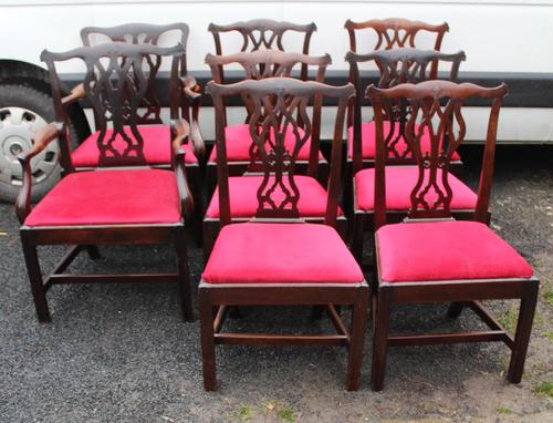 1900s -Set 8 Walnut Georgian style Dining Chairs with Pop out Seats 6+2 (1 of 3)