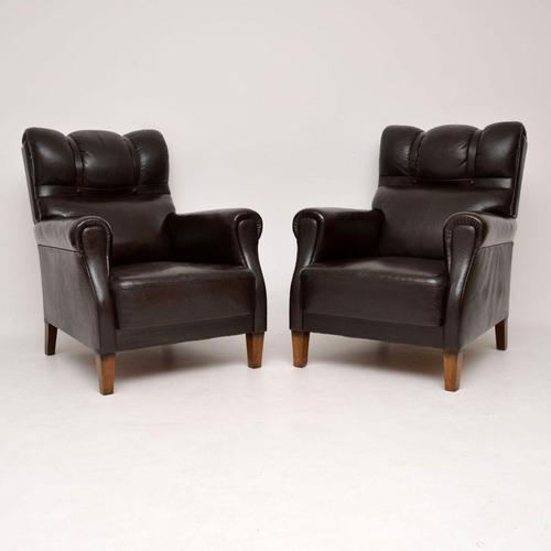 Pair of Antique Swedish Leather Armchairs (1 of 10)