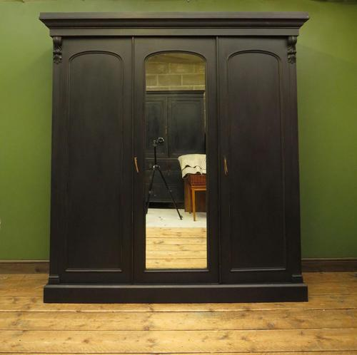 Antique Black Painted Triple Linen Press Wardrobe in 4 Parts, Gothic Shabby Chic (1 of 19)