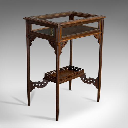 Antique Bijouterie Table, English, Walnut, Glass, Display, Edwardian c.1910 (1 of 12)