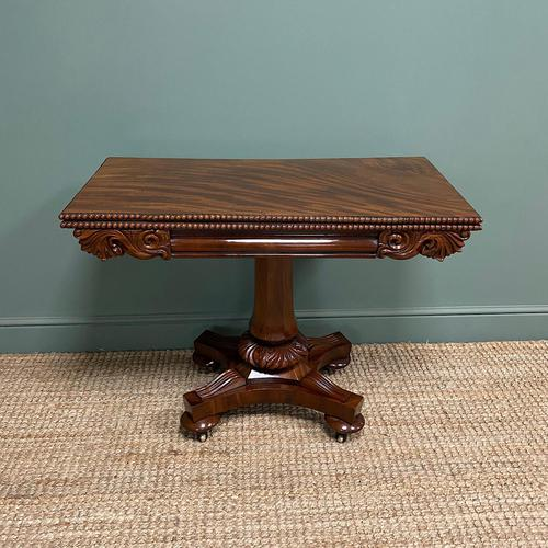 Fine Quality William IV Figured Mahogany Antique Card / Games Table (1 of 7)